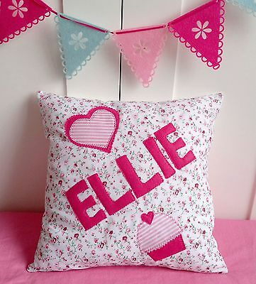ANY NAME GIRLS Pink PERSONALISED Cushion Christening Present Birthday baby Gift
