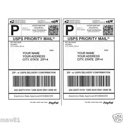 "100 8.5"" x 5.5"" Half Sheet Self Stick Shipping Postage Labels"