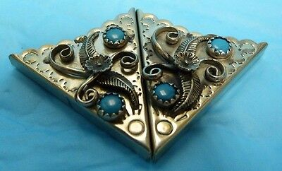 Vtg Sterling Shirt Collar Tips Floral Design With Turquoise Stones Unsigned Bx9E