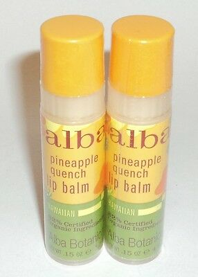 2 ALBA BOTANICA PINEAPPLE QUENCH Lip Balm Factory Sealed