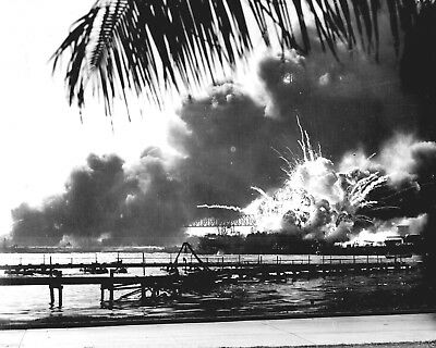 USS SHAW Exploding during the Japanese Raid on Pearl Harbor-December 7, 1941