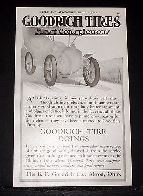1907 Old Magazine Print Ad, B.f. Goodrich Automobile Tires, Most Conspicuous!