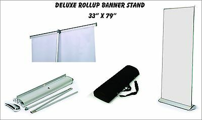 "Deluxe Retractable Roll Up Banner Stand (Display), 33"" x 79'' w/ Free Ship"