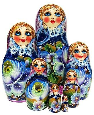 Rare Beauty 7 Piece Russian Nesting Doll. Blue Gold Vologda Exclusive Stacking