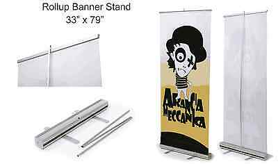 "4-Pack - Retractable Roll Up Banner Stand (Display), 33"" x 79''"