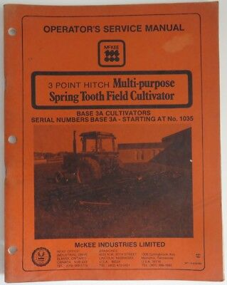 VINTAGE McKEE SPRING TOOTH FIELD CULTIVATOR MANUAL                 (INV10167)