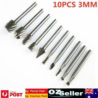 10 XTungsten Carbide Burr 3MM Shank Rotary Cutter File Set Die Grinder Drill Bit