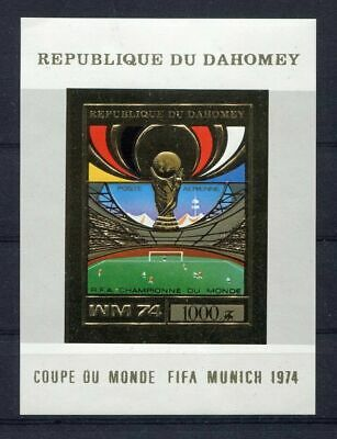s5106)DAHOMEY 1974 MNH** WC Football - Coppa Mondo Calcio S/S GOLD IMPERF Winner