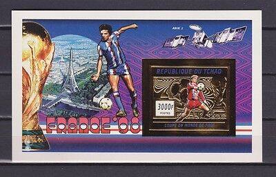 s7136) TCHAD 1996 MNH** WC Football'98 - CM Calcio S/S GOLD IMPERF