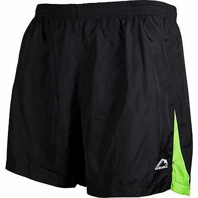 More Mile Mens 5 Inch Baggy Running Fitness Gym Football Shorts Black Lime