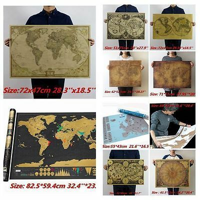 Scratch / Retro Vintage Globe Old World Map Matte Brown Paper Poster Home Deco