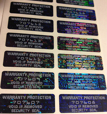 100 Warranty Protection Hologram Void Labels Stickers Black Tint 1.5 X .50 In.