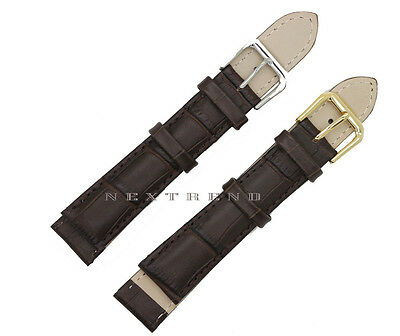 High Quality Dark Brown Alligator  Genuine Leather Watch Band Strap 12mm~24mm