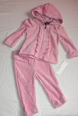 New Calvin Klein 2 Pc Velour Pink  Tracksuit Hoodie Joggers Girls Auth