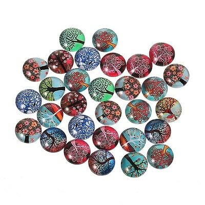 10 Trees Random Mixed Design Round Glass Cabochons Jewellery Making 10mm (033)