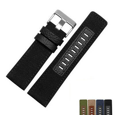 High Quality Canvas / Genuine Leather Watch Band For Diesel Watch (26mm)