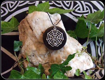 5000 year old Irish Bog Oak Necklace Pendant with Tibetan Silver Spiders web