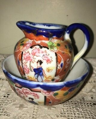 Vintage Hand Painted Japanese Jug And Bowl .