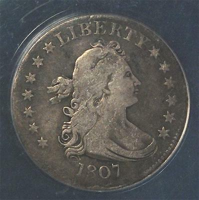 1807 Draped Bust Quarter:   ANACS VF-25, nice original coin