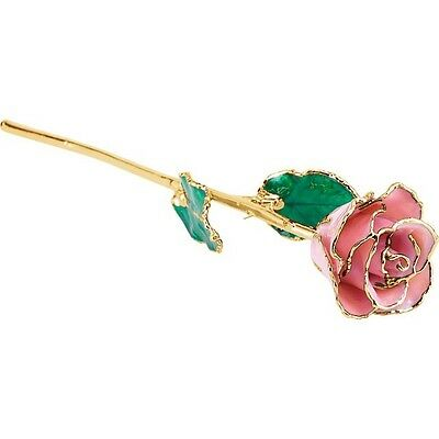 Genuine Real Lacquered PINK PEARL ROSE With 24kt Yellow Gold Trim Perfect Gift!