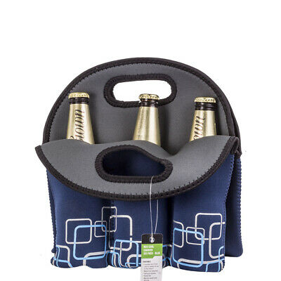 Wine Stubbie Beer Can Bottle Travel Protector Bag Fridge Cooler Six Pack Blu