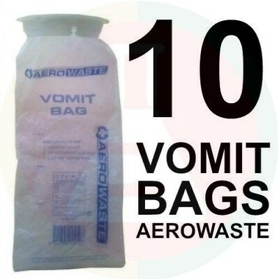 VOMIT BAGS X 10 FIRST AID EMESIS NEW STOCK!  Odour-Free TWIST & SEAL