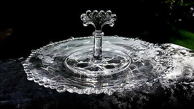 """Line #555 Paden City Glass Company Flower Etched 11"""" Handle Sandwich Server Tray"""