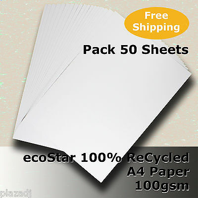 50 Sheets ecoStar 100% ReCycled Paper A4 Size 100gsm Carbon Neutral #S2111 #F2