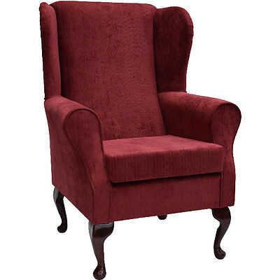 Red Topaz Fabric Wing Back Orthopaedic Fireside Chair - NEW