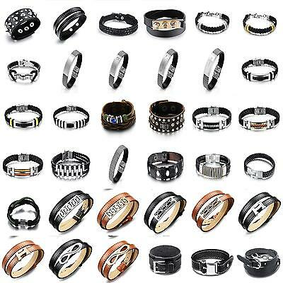 Mens Ladies Stainless Steel  Brown Black Leather Braided Bracelet Wristband