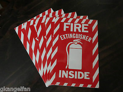 """(5 Signs) FIRE EXTINGUISHER INSIDE 6"""" X 9"""" Picture Sign Self Adhesive Vinyl"""