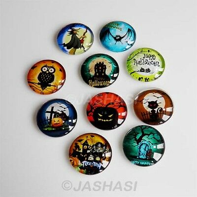 5 Halloween Mixed Round Glass Cabochons Flat Back Jewellery Making 20mm (051)