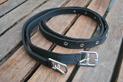 """Child 26"""" Stirrup Leathers in 3/4"""" Black Webbing - English Made - Best Quality"""