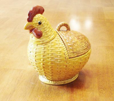 Ceramic Chicken Rooster Yellow Gold Brown Basket Weave Design with Lid