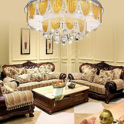 Luxury Round 60cm Living Dining Room Hall Ceiling Light Crystal Glass uk vat