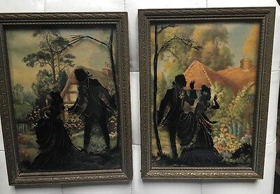 2 Vintage Reverse Painted Silhouette Picture Victorian Couple Bevelled Glass