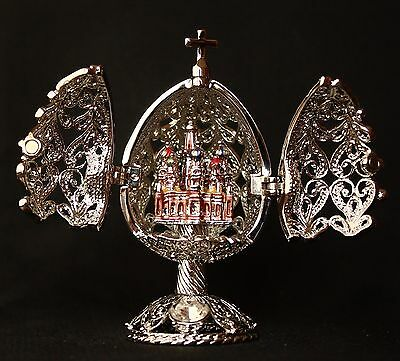 """St Petersburg Russian Faberge Egg: Filigree Egg with Cathedral, 2.6"""""""