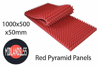 2x RED Large Pro Acoustic Foam Rectangular Pyramid Tiles Studio Room Treatment