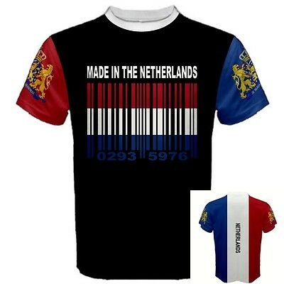 MADE IN THE NETHERLANDS Dutch Amsterdam Coat Of Arm Barcode Flag T-SHIRT NHR