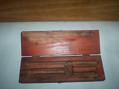 """Antique Wooden Tool or Instrument Holder Box with latch :(9"""" by 2.75"""" by 1.5"""")"""