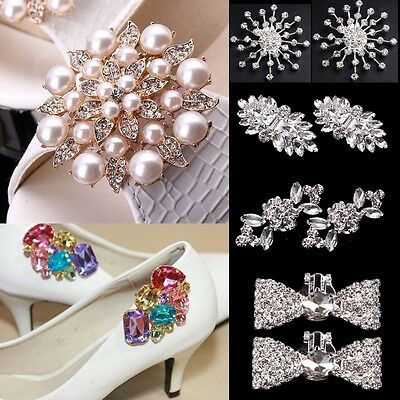 2Pcs Rhinestone Crystal Pearl Shoe Clips Tone Buckle Shoes Bridal Party Jewelry
