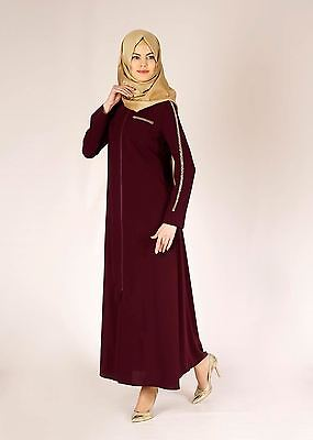 Light Summer Jilbab Abaya Jellaba With Zipper S M 10 - 12 Dark Red 56