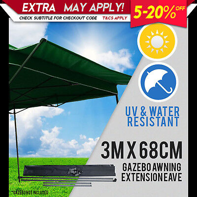 NEW PERFECT OASIS Pop Up 3mx68cm Gazebo Eave Folding Marquee Tent Outdoor Green