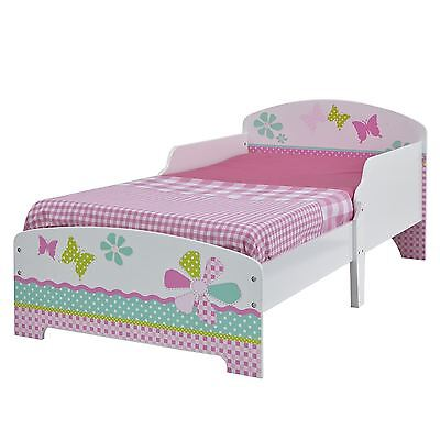 Girls Pretty & Pink Patchwork Toddler Bed New Flowers