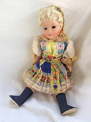 "Vintage German French Celluloid 18"" Girl Doll 46/3 in Original clothes Tlc"