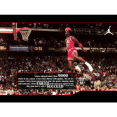 Michael Jordan Dunks Motivational Quotes Basketball Silk Poster 12x18 24x36""