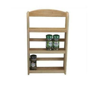 3 Tier Wooden Spice Rack Jar Holder Stand Wall Mounted Natural Hevea Wood