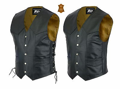 Mens Motorcycle Motorbike  Leather Vest Waistcoats