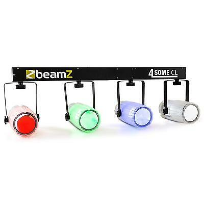 New Beamz 4-Some Clear Light Set Led Rgbw Dmx Sound Activated Mic * Free P&p Uk