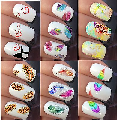 Nail Art Water Stickers Transfers Decals Wraps Flowers Feathers Leopard Hearts